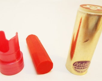 Cased  Metallic Lipstick Eraser.Strawberry.80s