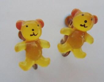 Japanese kawaii Candy Teddy Bear Earrings. 80s