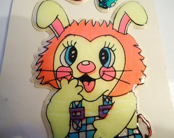 Classic Big Puffy Bunny Stickers. 80s