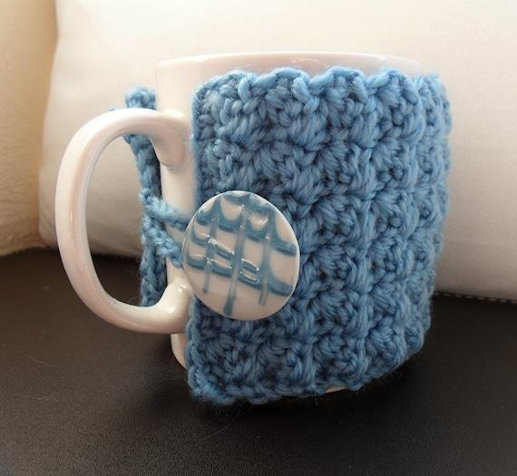 Crochet Mug Cozy Cup Cosy Blue Ceramic Button