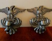 Vintage Cast Metal Eagle Sconces, Eagle Candle Holders