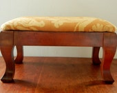 Vintage Foot Stool, Reupholstered in a Duralee Fabric