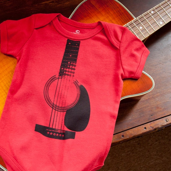 Acoustic Guitar Organic Cotton Short Sleeved Onesie (6-12 Months)