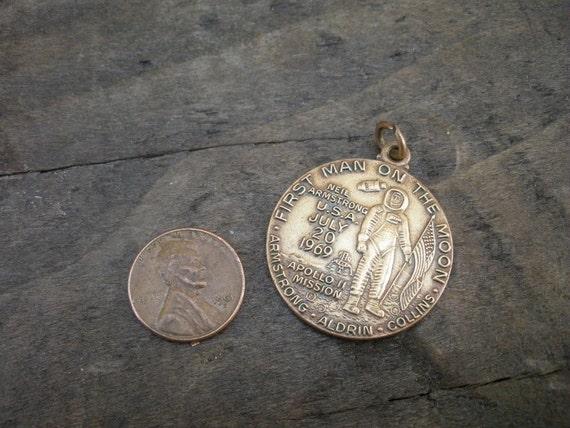 RESERVED Vintage 60s MOON LANDING Pendant Commemoration Medallion
