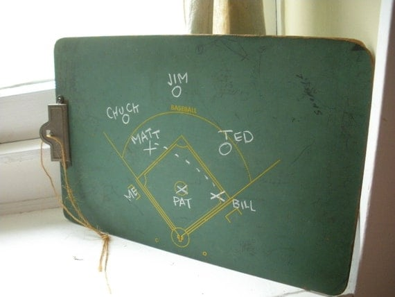 VINTAGE Baseball Coaching Slate Clip Board