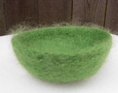 Felted Bowl in Lime Green Mohair