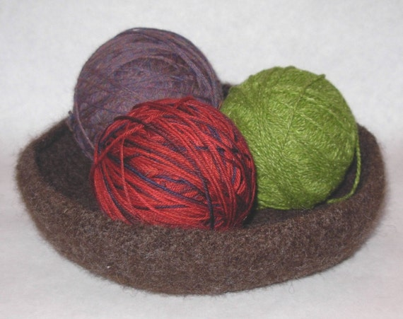 Chocolate Brown Felted Bowl