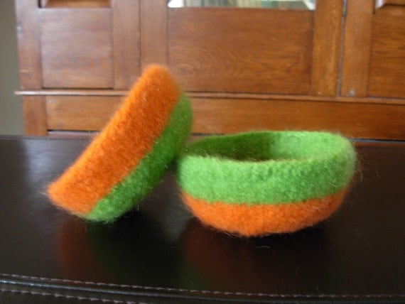 Two Tone (Orange and Lime Green) Felted Bowl