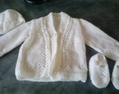 Handknitted baby cardigan, hat and bootie set-cream 3-6 months