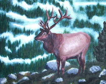 Bull Elk Original Acrylic Painting PRICE REDUCED