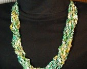 Handmade Crocheted Adjustable Trellis Ladder Necklace - Green Goddess Colors - Light and Dark Greens, Yellow