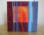 Mixed Media Painting - Abstract Blue and Orange Collage on Canvas - Cry Me Your Story of a Rich and Patinated Life