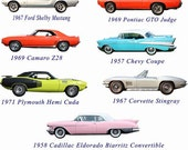 Classic Muscle Cars Set of Two Wall Decals Stickers, Vintage Cars Wall Stickers, Boys Room Decals, Man Cave Decor,Kids Wall Decals