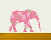 Kids Wall Decal,Pink Elephant Fabric Decal, Girls Room Decor, Safari Animal Decal, Nursery Elephant, Elephant Wall Sticker,Baby Girl Decor