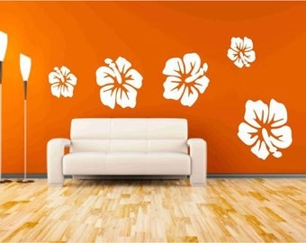 Hibiscus  Flower Wall Decals, Floral Wall Decor, Tropical Flower decal, Living Room Decor, Flower Sticker