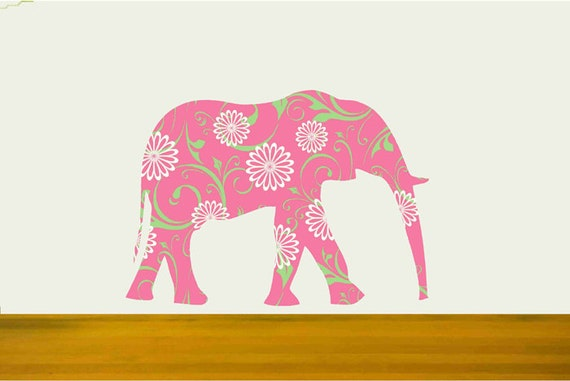 Kids Wall Decal,Pink Elephant Fabric Decal, Girls Room Decor, Safari Animal Decal, Nursery Elephant, Elephant Wall Sticker,Baby Girl Decor