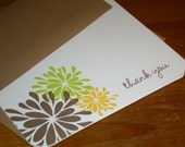 Thank you note cards Floral - Set of 12  folded cards - you choose the font