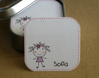 Stick figure : Mini Note Cards/Tags in Tin - set of 60