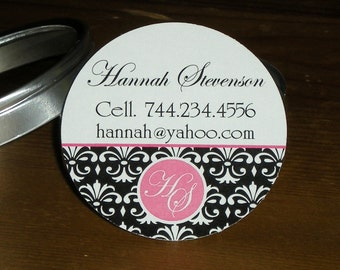 Damask monogram : Calling Cards - Mommy cards - Business cards in Tin - Set of 45