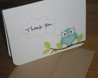 Thank you Note Cards Owl - Set of 12  folded cards