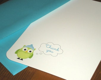 Boy Owl Thank you notes Baby shower / Birthday - Set of 12