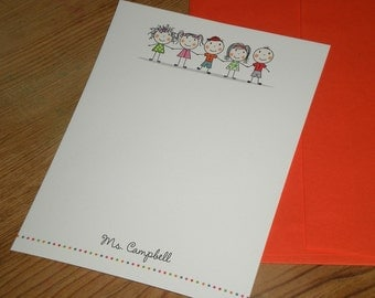 Teacher gift / Christmas gift - Set of 12 stick figure personalized note cards