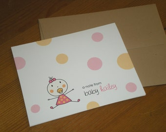 Baby girl Note Cards Thank you cards with coordinating envelopes - Set of 12