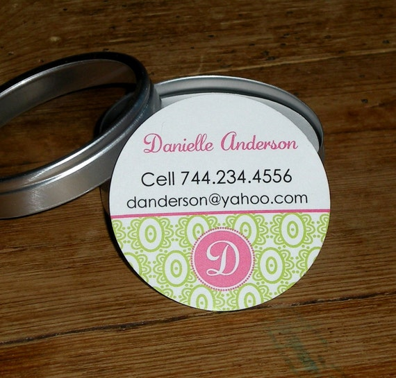 Calling Cards in Tin - Set of 45 custom mini cards - Monogram