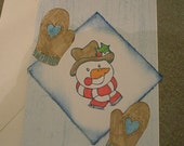 Snowman and Mittens Greeting Card