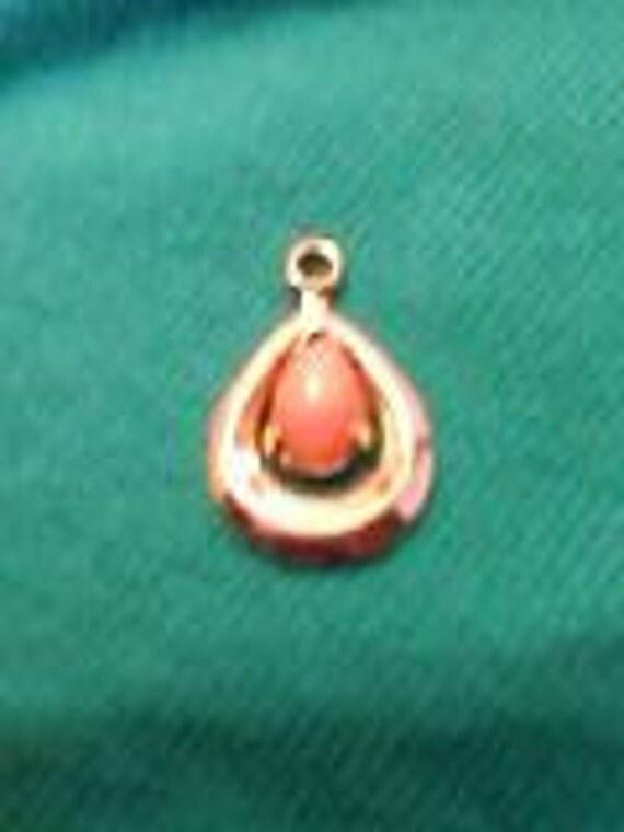 Vintage Pendant, Coral, Gold Tone SALE 50% OFF