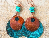 Blue Bohemian Earrings in Copper