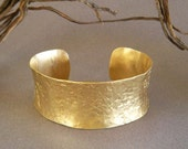 Gold Cuff Bracelet Hammered Brass Jewelry Ancient Egyptian Jewelry Greek Jewelry Artisan Handmade Boho Chic Jewelry by Seventh Willow