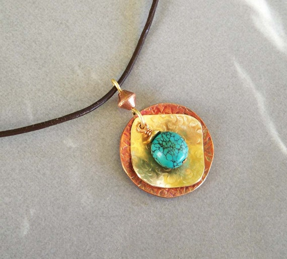 Turquoise Pendant Necklace Brown Leather Cord Necklace