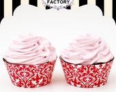 Printable Red & White Cherub Brocade Cupcake Wrappers