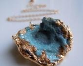 Blue Druzy Necklace : Aqua Aura Mushroom Druzy Drusy Desert Rose SOMETHING BLUE