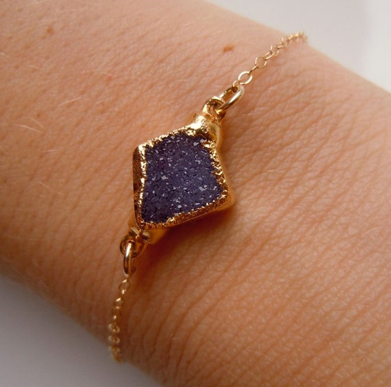 RESERVED - Druzy Bracelet in Plum Purple