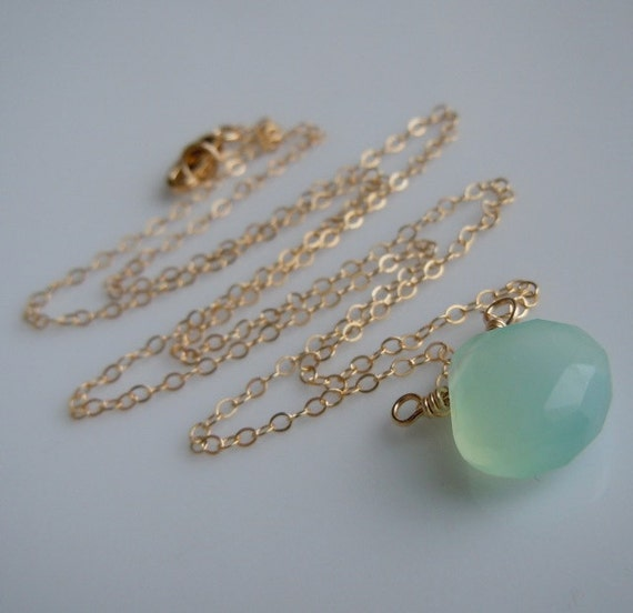 Chalcedony Necklace in Aqua