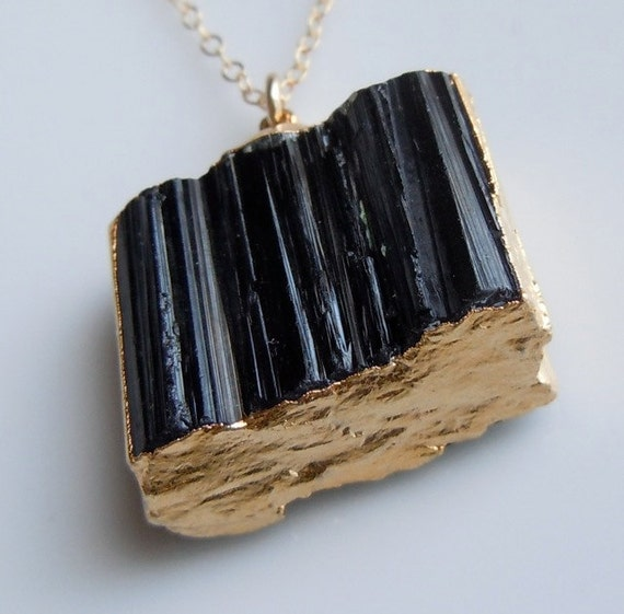Black Tourmaline Necklace with Gold -A BEST SELLER, Similar Featured in Etsy Newsletter, Wide Size