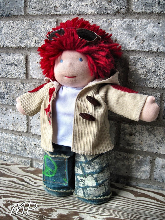 LAST One waldorf  TOGGLE coat corduroy tan & rust for 10 12 15 inch doll boys