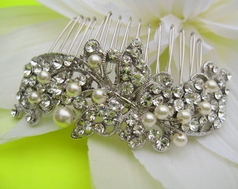 Pearl bridal comb,crystal wedding comb,wedding hair comb pearl,wedding hair accessories,bridal headpieces,rhinestone bridal hair comb