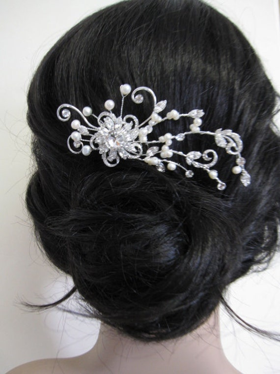 Rhinestone pearl hair comb--bridal hair comb crystal and pearl , bridal hair accessories, wedding hair comb pearl ,bridal hair comb