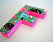 Girls Fabric Letter F in Pink and Green Woodland theme for Nursery & Kids Room Decor