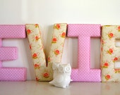 Fabric Letter Wall Hanging - Letter E in Pink Polka Dot