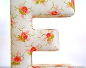 Fabric Letter Wall Hanging - Letter E in shabby chic floral