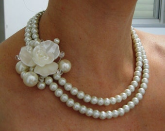 Fleur  -  Ivory Swarovski Pearls Necklace, Weddings  pearl necklace - Made to Order