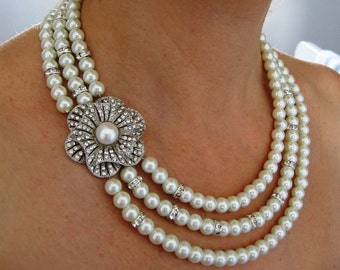 BRIDAL SET- Emily -Swarovski pearls and rhinestone Necklace and Bracelet (2 Items ) - Made to Order