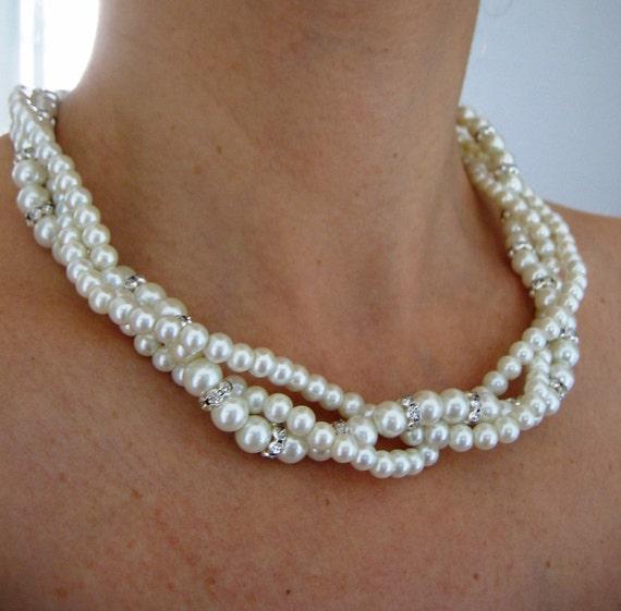 BRIDAL SET- (2 Items ) Bridesmaid set  Wedding Necklace, Pearls and crystal Bridal Necklace,  Bridal Jewelry Pearls, Wedding Pearl Necklace