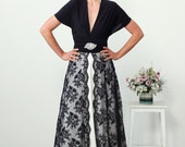 Black and White Split personality Lace and Satin jersey maxi wrap dress