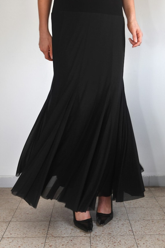 items similar to feather light black tulle evening maxi