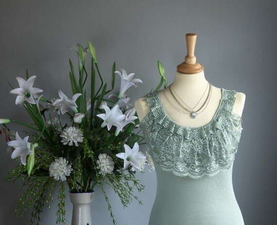 SALE: 50% off the second item-Romantic lace ribbed tank in hazy celadon - version 2